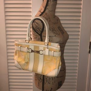 Coach Yellow/White Canvas & Leather Shoulder Bag
